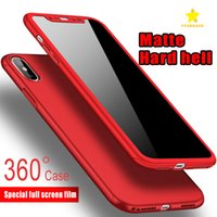 Wholesale Blue Iphone Case Pc - Ultra-thin 360 Degree Coverage Full Body Case Protection Hard PC Full Cover Case for iPhone 8Plus iPhone X 6 6SPlus 7Plus Tempered Glass