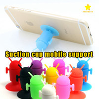 Wholesale Cute Android - Android Robot Cellphone Holder Mounts Suction Cups Cute Holder Silicone Sucker Car Holder for All Mobile Phone