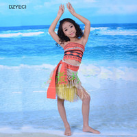 Wholesale Set Children 3pcs Suits Skirt - Moana Summer Teenager Girl Set Clothes Fashion Costume Children Boutique Outfits Kid Vest+Belt+Skirt Dress 3PCS Suit Clothing