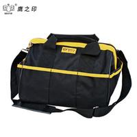 Wholesale Waterproof Pvc Handbags - Wholesale-BESTIR Three Size THE Small PVC Fabric Oxford Tool bags Waterproof Case handbag Toolkit With Knapsack Belt 05131
