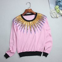 Wholesale Pink Sequin Sweater - Free Shipping 2017 Brand Same Style Sweaters Long Sleeve Crew Neck Regular Pullover Viscose Pink Sequins 18