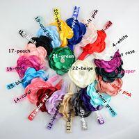 Wholesale Silk Feather Headband - Newborn Baby Kids Feather Headbands Flower Rhinestone For Girls Elastic Headbands Girl Hair Accessories Infant Hairbands 22 Colors