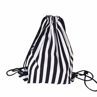 Wholesale Cell Beam - Wholesale- Hot 2016 New Fashion Women Stripe Drawstring Beam Port Backpack Shopping Bag Travel Bag Simple Style Designer Small Backpack