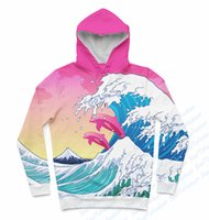 Wholesale Oem Hoodies - Wholesale- Real USA size Pink Waves x Dolphins 3D Sublimation Print Hoody Hoodie OEM Custom made Clothing