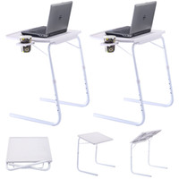 2 x mesa ajustável PC TV Laptop Desk Tray Home Office W / Cup Holder White