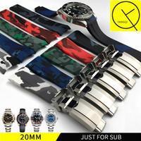 schwarze gummibandarmbänder großhandel-Wasserdicht gummi armband edelstahl falten schnalle uhrenarmband für oysterflex sub armbanduhr mann 20mm schwarz blau + werkzeug