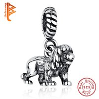 Wholesale accessories animal shape - BELAWANG New Sterling Silver The Lion Shape Pendant Big Hole Charm Beads Fit Pandora Original Charm Bracelet Necklaces Women Accessories