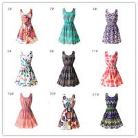 Wholesale womens tank dresses - Sexy Chiffon Sleeveless Sundress Womens Summer Beach Floral Tank Mini Dress XXL L34