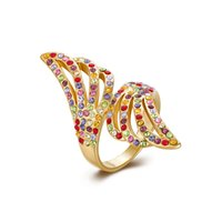 Wholesale Color Mix Statement - Statement Ring Yellow Gold Plated Rhinestone Shiny Mix Color Crystal Gemstone Fashion Jewelry Christmas Gifts Free Shipping Size 8 GPR323