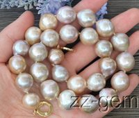 Wholesale Natural Pearl String - 16MM natural Purple Edison Nucleated Flameball Baroque Pearl Necklace
