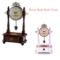Wholesale Mute Clock Vintage - Wholesale-Retro Wood Desk Clock For Wedding Gift Vintage Home Decor,Mute Fashion Creative Suitable For The Sitting Room  Bedroom Hot Sell