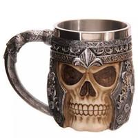 Wholesale Mens Mugs - Stainless Steel Liner Drinking Skull Mug Resin 3D Skull Tankard Horror Decor Cup for Halloween Bar Party mens gifts