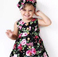 Wholesale Toddler Straight Dresses - INS Hot Baby girl Kids toddler Summer Clothes 2piece set Clothing Rose Floral Dress Jumper Jumpsuits Buttons bowknot headband headwrap A080