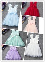Wholesale Latest Design Skirts - Baby Girl Pierced Lace Dress Suspender Petals Net Yarn Princess Bubble Skirts Bowknot Slip Dress Latest Design Knee Length