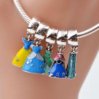 Wholesale cute big bracelets for sale - Group buy EDELL Promotion Enamel Princess Dress Sterling Silver Pandora Big Hole Charm Pendant with Cute Pendant Fit European Bracelet Bangle
