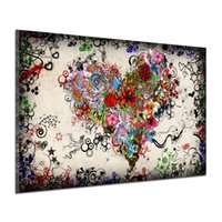 Wholesale print poster design - Graffiti Design Abstract Wall Art Heart Flowers Canvas Prints & Posters Painting Pictures Home Decor for Living Room Unframed