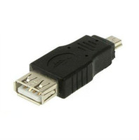 b connectors wholesale 2018 - Wholesale 200pcs Black F M USB 2.0 A Female To Micro   Mini USB B 5 Pin Male Plugt Adapter Converter Connector