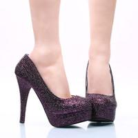 zapatos de vestir de color morado oscuro al por mayor-Zapatos del banquete de boda rhinestone púrpura oscuro tamaño 42 43 y 44 zapatos de vestir nupcial del tacón de aguja del tacón alto estupendo del partido bombas del baile de fin de curso