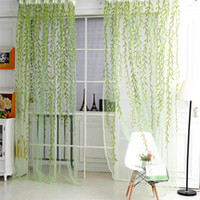 Hot Fashion French Shower Valance Curtain Living Room Sheer Curtain Tulle  Voile Sallow Willow Wicker Flocked Window Home Decorations