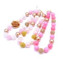 Wholesale Chunky Gold Necklace Wholesale - 2PCS Newest Design Pink+Gold Color Necklace Birthday Party Gift For Toddlers Girls Beaded Bubblegum Baby Kids Chunky Necklace Jewelry