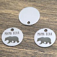 Wholesale Message Heart Charms - 10pcs mama bear heart charm silver tone message charm pendant 20mm