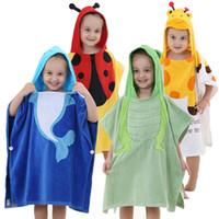 Wholesale Toddlers Hooded Bathrobes - Newborn Baby Towels Cotton Hooded Bath Towels Kids Cartoon Toddler Bathrobe Animal Baby Washcloths Pajamas YE0014
