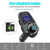 direksiyon hoparlörü bluetooth toptan satış-T11 Bluetooth Hands-Free Araç Kiti USB Port Şarj Ve FM Verici Ile Destek TF Kart MP3 Müzik Çalar BC06 BC09 T10 X5 G7 Araç Kiti 10 adet
