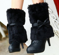 Wholesale Women Wearing Fur Heels - 2017 Free Shipping new bow wear two fur boots with high heel fine with Martin boots boots female Snow Boots 0#77