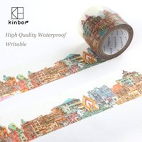 Wholesale Pattern Tape - Wholesale- 2016 Kinbor Japanese Washi Tape Buildings Pattern DIY Deco Adhesive Tape Waterproof Writable Durable Masking Tapes Label Sticker