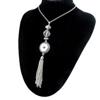 Wholesale Snap Tassels - NEW Trendy Ethnic Style Crystal Tassel Pendant Snap Necklace With Chain Fit DIY 18MM Snap Buttons Jewlery Wholesale Women ZG016