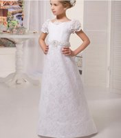Wholesale Tailored Girls Dresses - 2017 New Arrival Appliques Flower Girl Dress Tailored Beading Sequined Sashes Short Sleeve Girls First Communion Dresses