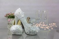 Wholesale Custom Sequin Shoes - A white lace crystal wedding shoes high-heeled waterproof Taiwan custom diamond sexy shoot wedding bride shoes work performance