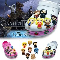 Wholesale charm rubber bracelet - 8Pcs Lot Game of Thrones PVC Cartoon Shoe Charms Ornaments Buckles Fit for Shoes & Bracelets ,Charm Decoration,Shoe Accessories Party Gift