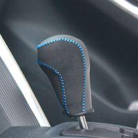 Wholesale Mazda Gear Shift Knobs - XuJi Black Genuine Leather Black Suede Gear Shift Knob Cover for Mazda CX-5 CX5 Automatic