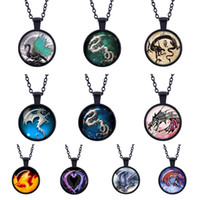 Wholesale Photo Jewelry Cabochon - Vintage Dragon Cabochon sweater long paragraph Glass HD Photo black Pendant Chain jewelry in Pendant Necklaces good gift for your friend