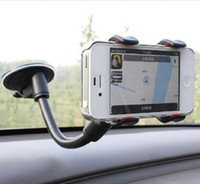 Wholesale Car Mount Rotating Clip - 360 Degree Rotating Car Windshield Clip Mount Holder Bracket For Samsung iPhone 6 Plus GPS Mobile Phone Flexible Arm Suction Cup Sucker