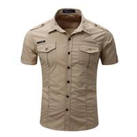 Wholesale Men S Cargo Shirts - Europe Size New Mens Cargo Shirt Men Casual Shirt Solid Short Sleeve Shirts Work Shirt for men