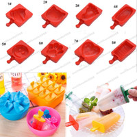 Wholesale Heart Shaped Ice Cube Trays - 2017 NEW Cartoon DIY Heart Cat Foot Smile Shape Silicone Ice Cream Mold Popsicle Molds Ice Tray Cube Tools Frozen Popsicle Maker Holder MYY
