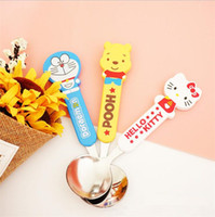 Wholesale Kids Icing Kit - Wholesale- 2017 cute children Hello Kitty Winnie Pooh dessert spoon child safe kids spoons Ice Scoop dinning tool kit tableware Accessories