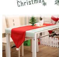 Wholesale Kitchen Christmas Ornaments Wholesale - 34*176cm Chirstmas Table Cloth Xmas Tablecloth Dining Kitchen Tool Table Cover Christmas Dinner Party Decorations Ornament KKA3289