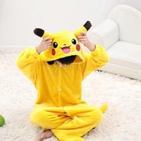 Wholesale Girl S Pajamas - cosplay halloween pikachu costume child for kids onesie pajamas boys coton girls animal kid costumes instinct