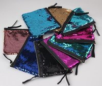 Wholesale Glitter Coin Purses Wholesale - Fashion Handbags Sequins Clutch Bag Mermaid Sequin Purse Mermaid Makeup Bags Cosmetic Bag Glitter Sequins Coin Bags Women Kids Purse