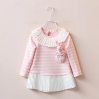 Wholesale Lycra Baby Dolls - Children girls Long sleeve dress stripe splicing baby cotton long T-shirt send rabbit doll wholesale