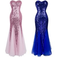 Wholesale Sequins Mesh Dress - Angel fashions Women Sleeveless V-Neck Sweetheart Sequins Mesh Princesse Lace Up Party Dresses Prom Gowns A-053