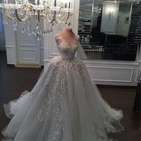 Wholesale Crystal Pearl Swarovski - Real Photos Bridal Dresses New Luxury Crystal Zuhair Murad Wedding Dresses Ball Gown Lace Cathedral Train Sheer Strap Swarovski Bridal Gowns