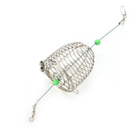 Wholesale Fish Trap Lures - 1Pcs Stainless Steel Wire Fishing Lure Cage Small Bait Cage Fishing Trap Basket Feeder Holder Fish Bait Lure Fishing Accessories