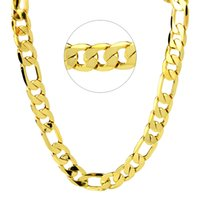 Solid 12MM Figaro Link Chain 24K Gold Gold Filled Women Womens Necklace 24