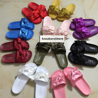 Wholesale Ladies Butterfly Sandals - 2017 Fenty Rihanna Bandana Slide Ladies Butterfly Slippers Bow Satin Slides Pink Purple White Sandals With Boxes and Dust Bag