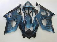 Wholesale Suzuki Fairing Blue Flame - Fairing kit for Suzuki GSXR1000 03 04 black flames blue motorcycle fairings set GSXR1000 2003 2004 OT04