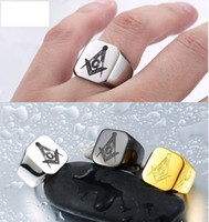 Wholesale Mason Stainless Steel - 2017 New 316L Stainless Steel Masonic Ring for Men Master Masonic Signet Ring Free Mason Ring Jewelry